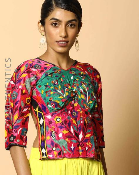 Kutch Embroidered Backless Blouse By Indie Picks ( Multi ) - 460103652001