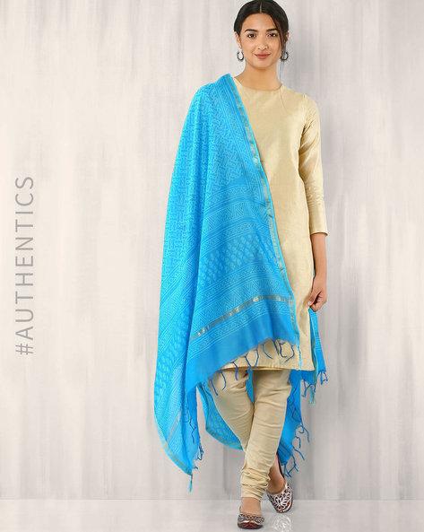 Bagru Printed Chanderi Dupatta By Indie Picks ( Lightblue ) - 460015855001