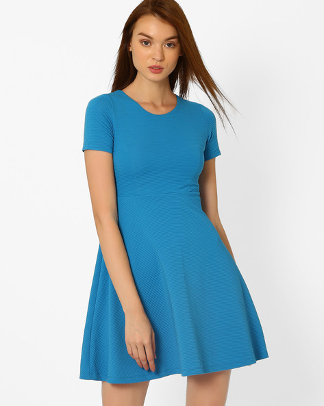 Textured Skater Dress By CHEMISTRY ( Blue )