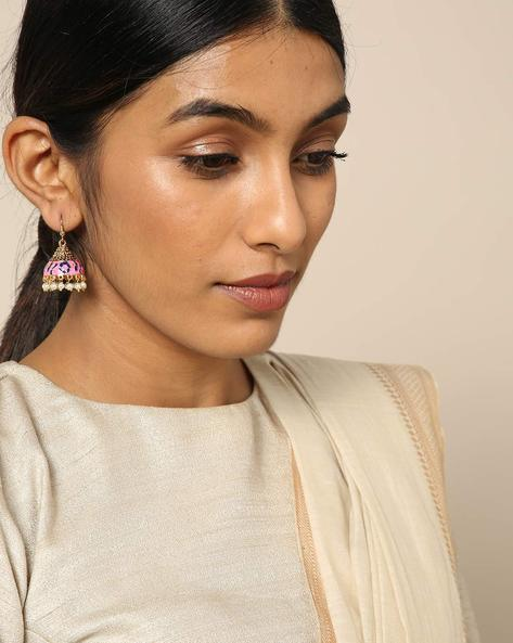 Meenakari Pearl Drops Stone Earrings By Spargz ( Multi ) - 460146252001