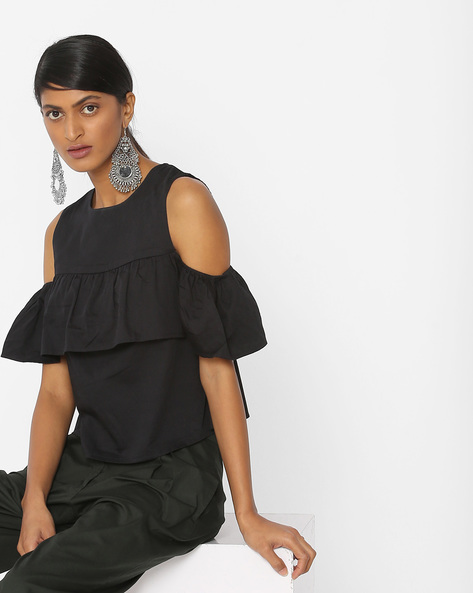 Ruffled Top With Cold-Shoulder Sleeves By Vero Moda ( Black )