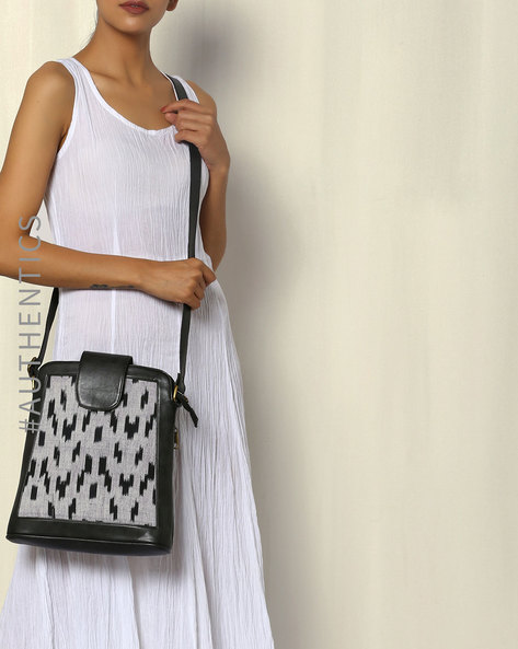 Handwoven Ikat Vegan Leather Sling Bag By A BIG INDIAN STORY ( Black )
