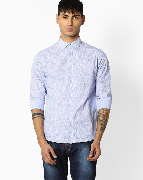 Printed Cotton Shirt By Celio ( Blue )