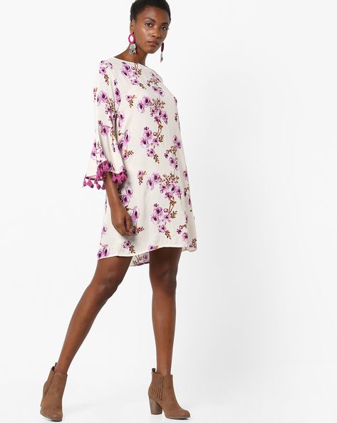 Floral Print Shift Dress With Tassels By Rena Love ( White )