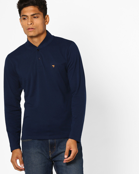 Cotton T-shirt With Ribbed Collar By The Indian Garage Co ( Navy )