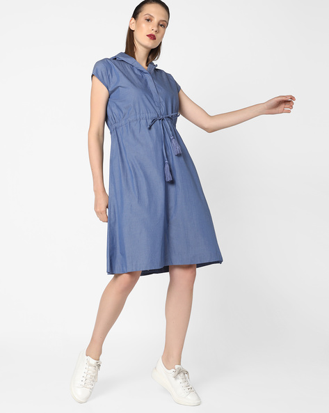 Hooded Shift Dress With Tie-Up By AJIO ( Navyblue )