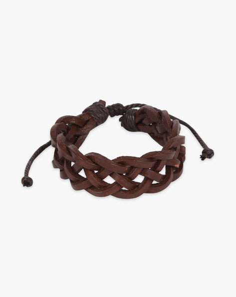 Braided Bracelet With Knot Clasp By ALPHA MAN ( Brown )