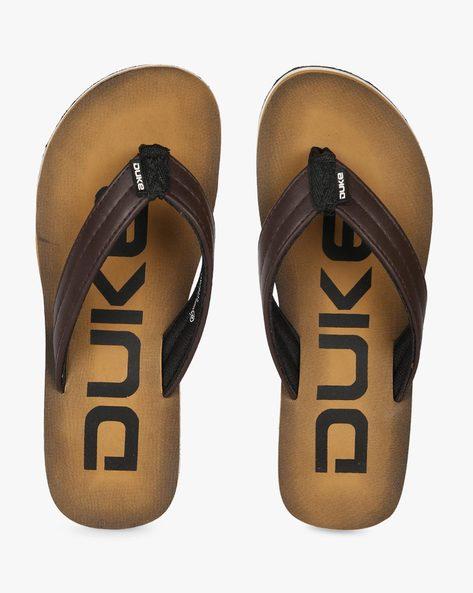 Thong-Style Flip-Flops With Branding By DUKE ( Beige )