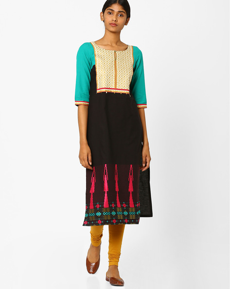 Straight Kurta With Embroidery By W ( Black )