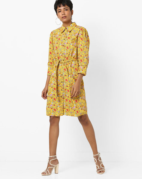 Floral Print Shirt Dress With Fabric Belt By AJIO ( Yellow )