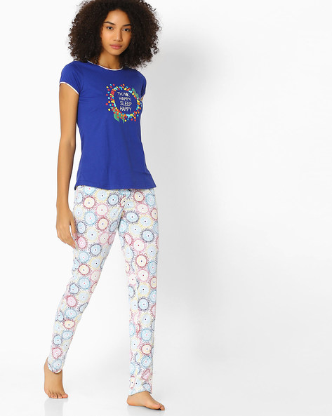 Printed Top And Pyjama Set By Sweet Dreams ( Blue )