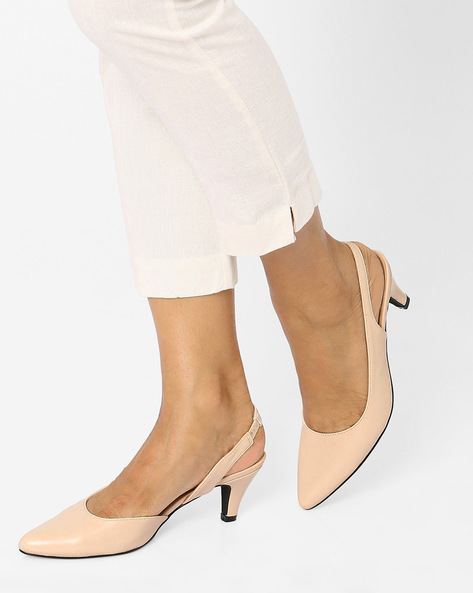 Pointy-Toe Slingbacks By Tresmode ( Beige )