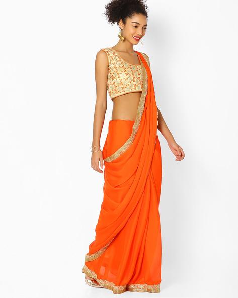 Saree With Embellished Border By Majestic Silk ( Orange )