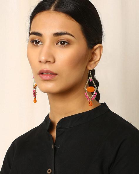 Beaded Dangler Earrings By Indie Picks ( Orange )