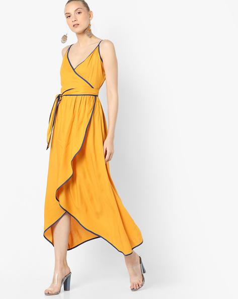 Strappy Wrap Dress With Asymmetric Hem By AJIO ( Mustard )