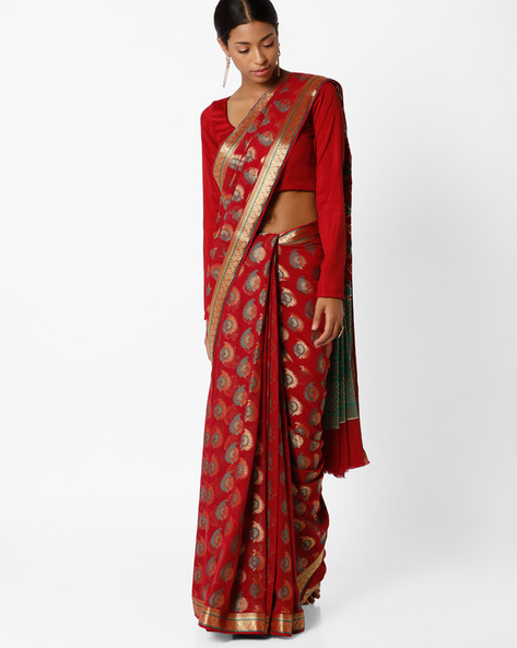 Chiffon Saree With Zari Work By Amori ( Maroon )