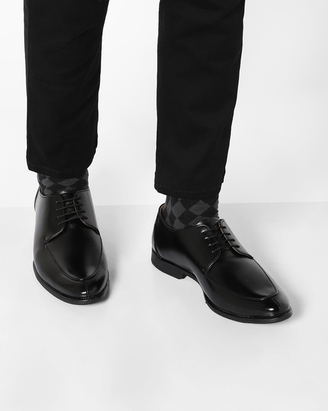 Lace-Up Formal Derby Shoes By Modello Domani ( Black )