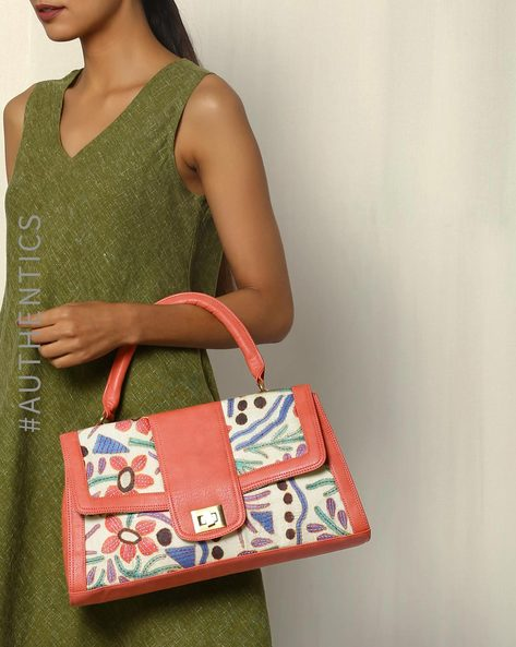 Hand Embroidered Kantha Vegan Leather Silk Handbag By A BIG INDIAN STORY ( Peach )