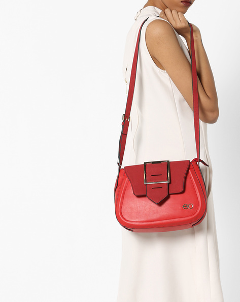 Sling Bag With Suede Flap By E2O ( Red )