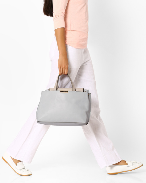 Handbag With Flat Handles By AJIO ( Beige )