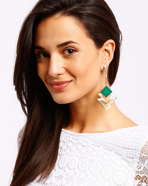 Drop Earrings With Stone By Ssoul ( Darkgreen )