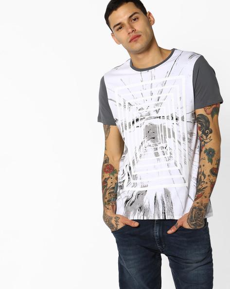 Cut & Sew Printed T-shirt By AJIO ( Lightgrey )