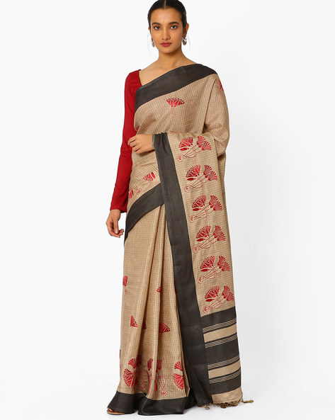 Checked Saree With Embroidery By Amori ( Beige )
