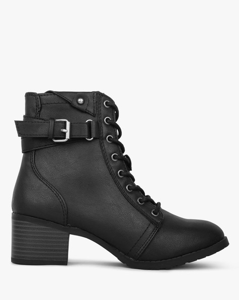 High-Top Lace-Up Boots With Side Zipper By BRASH ( Black )