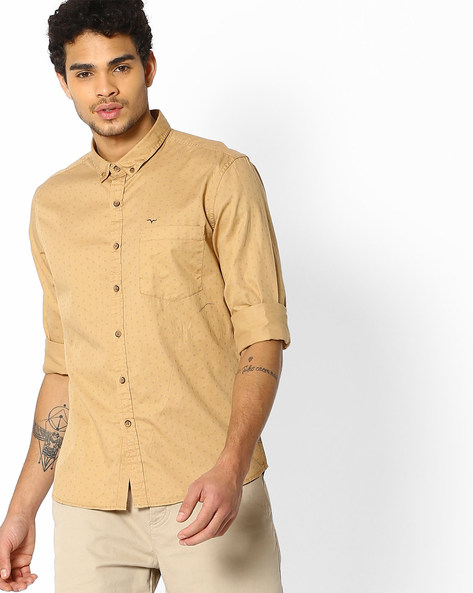 Micro Print Shirt With Button-Down Collar By FLYING MACHINE ( Khaki )