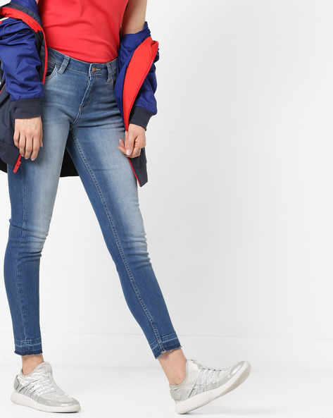 Washed Denim Jeans With Panelled Hems By Project Eve WW Denim ( Mediumblue )