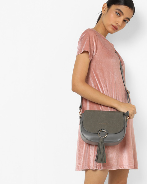 Sling Bag With Detachable Strap By Lino Perros ( Grey )