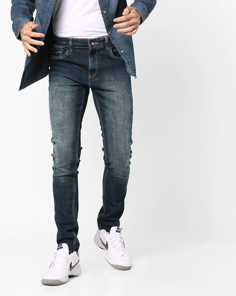 Lightly Washed Slim Fit Jeans By AJIO ( Blue ) - 460103012001