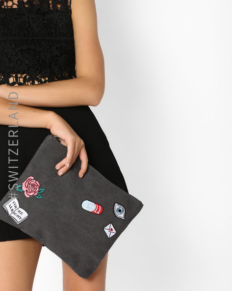 Oversized Clutch With Embroidered Applique By TALLY WEiJL ( Grey )