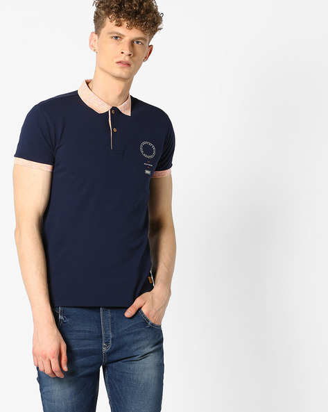 Polo T-shirt With Contrast Collar By UNITED COLORS OF BENETTON ( Blue )