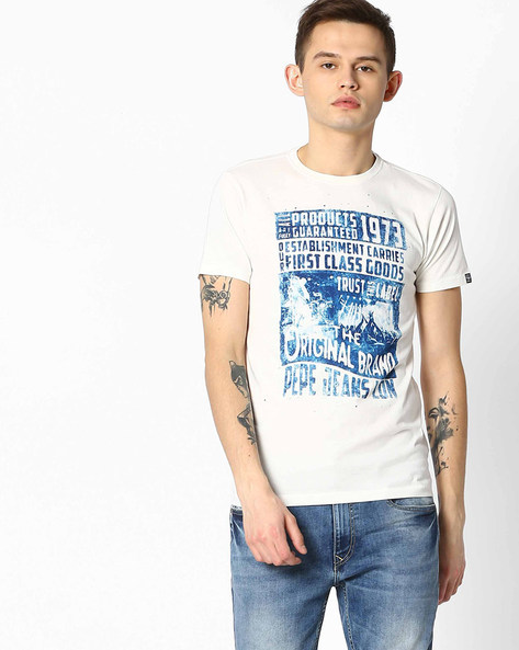 Slim Fit Graphic Print T-shirt By Pepe Jeans ( White ) - 460059790001
