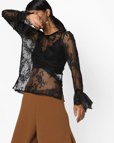 Floral Lace Top With Bell Sleeves By AJIO ( Black )