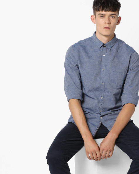 Slim Fit Cotton Shirt With Patch Pocket By AJIO ( Blue )