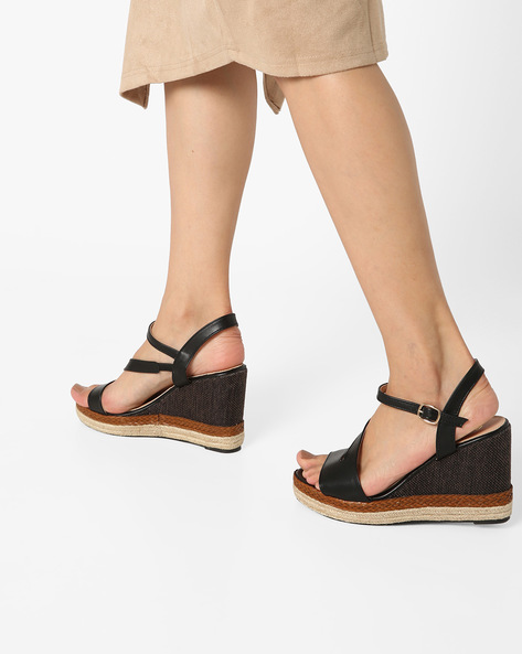 Ankle-Strap Wedges With Braided Midsole By AJIO ( Black )