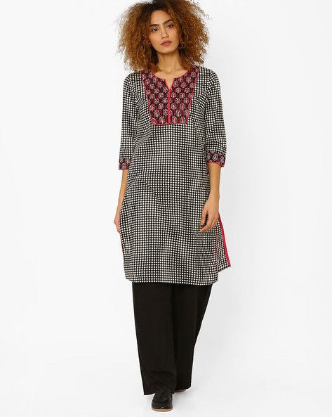 Printed Kurta With Contrast Yoke By AJIO ( Black )
