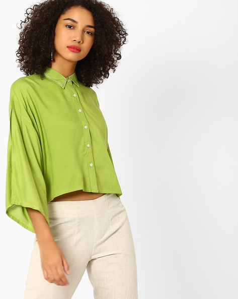 Boxy Crop Top With Embellished Collar By AJIO ( Lightgreen )