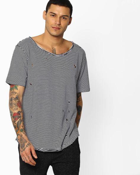 Ripped Striped T-shirt By ADAMO LONDON ( Multi )