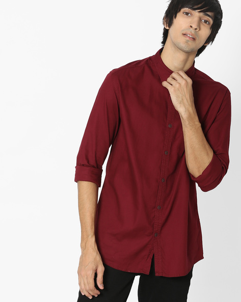Slim Fit Shirt With Patch Pocket By British Club ( Maroon )
