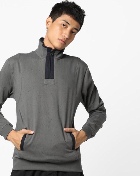 Zip-Front Fleece Sweatshirt By AJIO ( Grey )