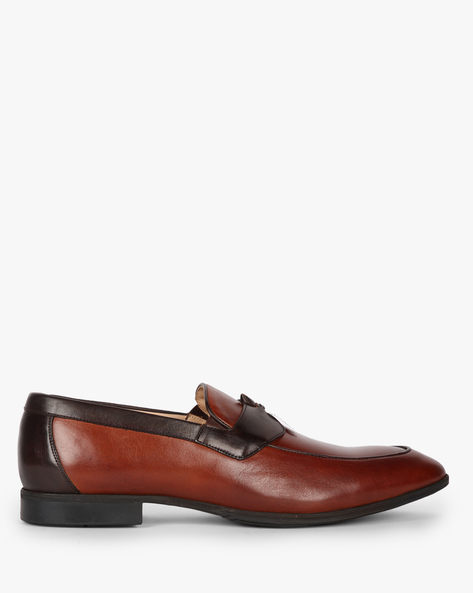 Genuine Leather Panelled Slip-On Shoes By AJIO ( Lightbrown )