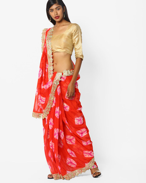 Printed Saree With Embellished Border By CHHABRA 555 ( Peach )