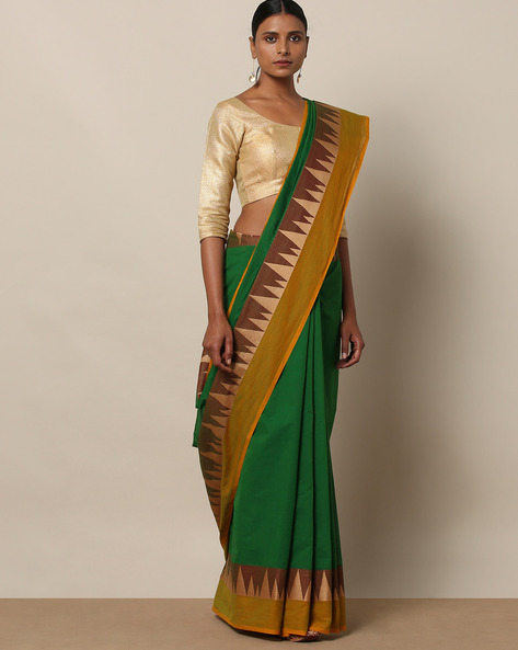 Kanchi Cotton Saree With Woven Border By Indie Picks ( Green ) - 460164754001