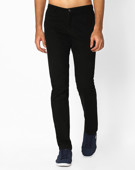 Flat-Front Tapered Fit Dobby Chinos By NETPLAY ( Black )