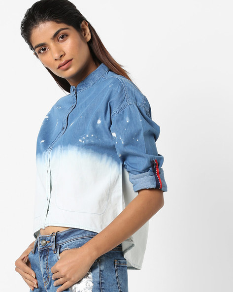 Ombre-Dyed Denim Shirt By AJIO ( Lightblue )