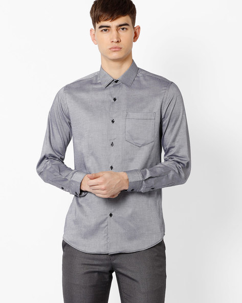 Slim Fit Shirt With Patch Pocket By Black Coffee ( Black )