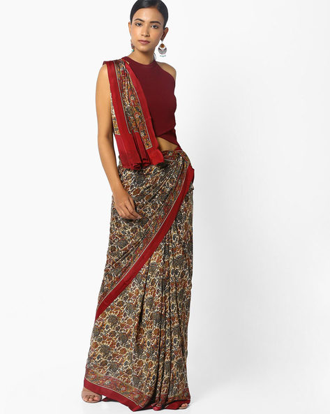 Printed Saree With Contrast Border By Majestic Silk ( Red ) - 460093548002